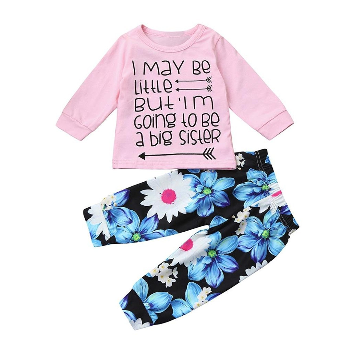 For 0-24 Month Baby, Webla Infant Baby Girls Letter I May Be Little But I'm Going To Be A Big Sister Tops+Floral Pants 2Pcs Outfits Set