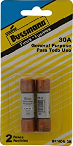 Bussmann BP/NON-30 30 Amp One-Time Cartridge Fuse Non-Current Limiting Class K5 250V UL Listed Carded, 2-Pack