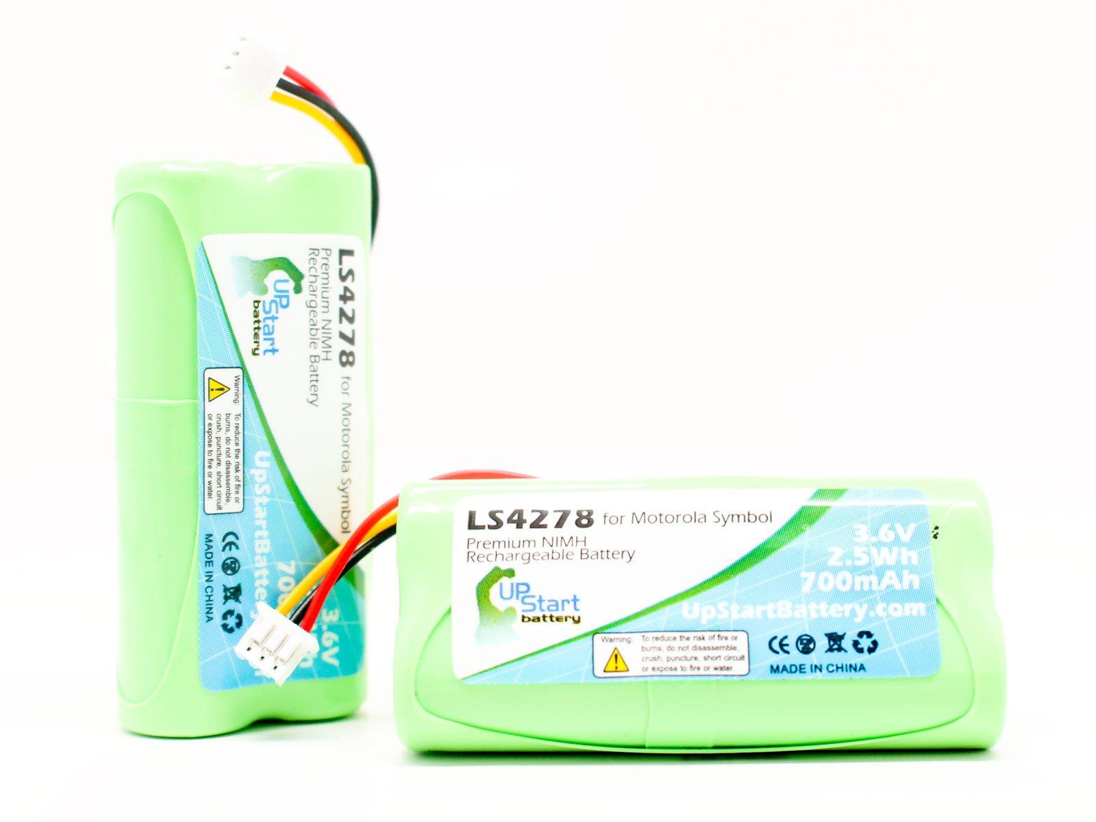 2x Pack - Motorola Symbol 82-67705-01 Battery - Replacement for Motorola Symbol LS4278 Barcode Scanner Battery (700mAh, 3.6V, NI-MH) - Also Replaces Symbol LS4278, Symbol LS-4278, Symbol BTRY-LS42RAAOE-01, Symbol LS4278-M