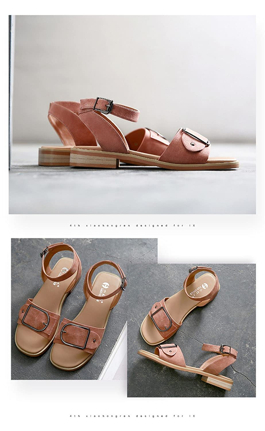 54d11d6b403ea2 MeiMei Women Summer Beach Sandals Low Heel Sandals Women Flat-Bottomed Flat  Thick Slotted Strap Roman Shoes  Amazon.co.uk  Shoes   Bags
