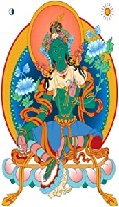 Rumlly Poster Dharma Wheel Green Tara A Symbol of The Tibetan Buddhism Wall Print Decorations for Living Room Bedroom Study Office 24x36 Inch