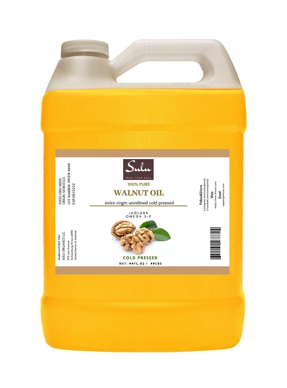 64 FL.OZ-100% Pure Extra Virgin Unrefined Cold Pressed Walnut Oil - DEEP GOLDEN-FRESH FLAVOR