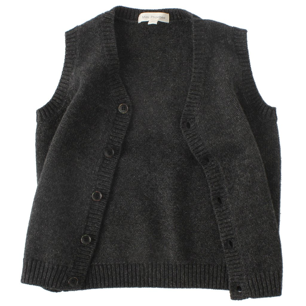 Mini Phoebee Boys' V-Neck Button Front Wool Sweater Vest Dark Grey