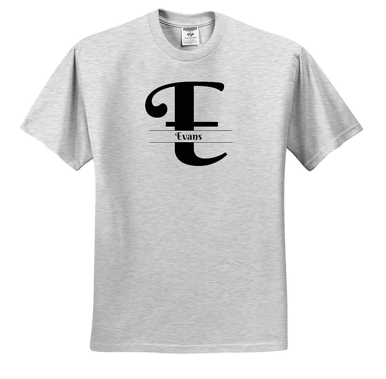 T-Shirts Bold Script Monogram E Evans 3dRose BrooklynMeme Monograms