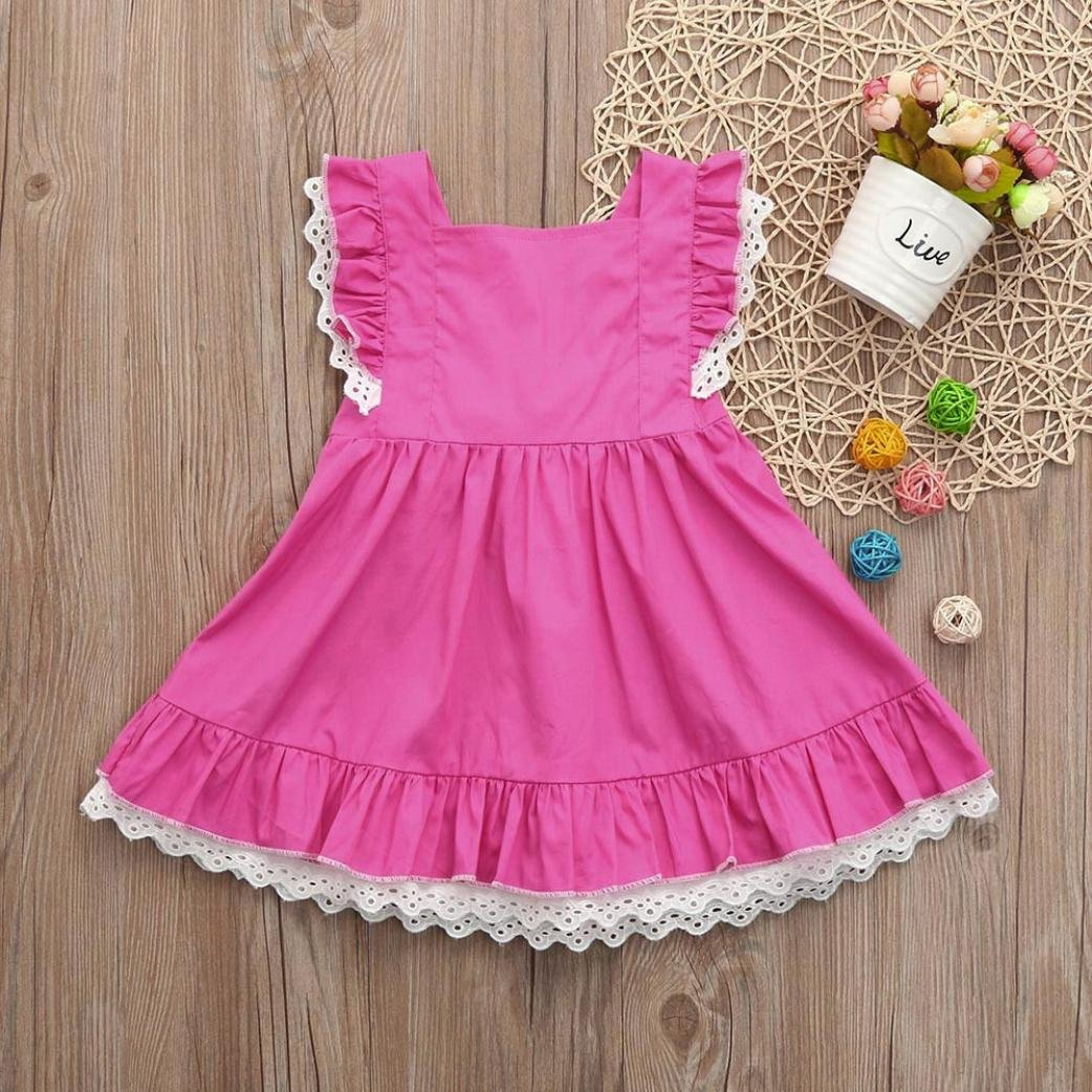 f1b875405a7b Amazon.com  Franterd Clearance! Princess Dress for Little Girls A-Line Lace  Sundress Beach Sunsuit Clothes for Baby Infant Kids  Sports   Outdoors