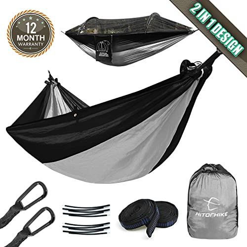 Hitorhike Camping Hammock with Mosquito Net Nylon Tree Straps Detachable Aluminum Poles and Steel Carabiners, 2 in 1 Design for Backpacking, Camping, Travel, Beach, Backyard