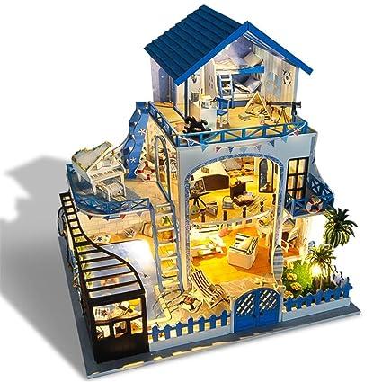 Casa De Munecas Montar Madera Modelo Juego Mobliert Habitaciones