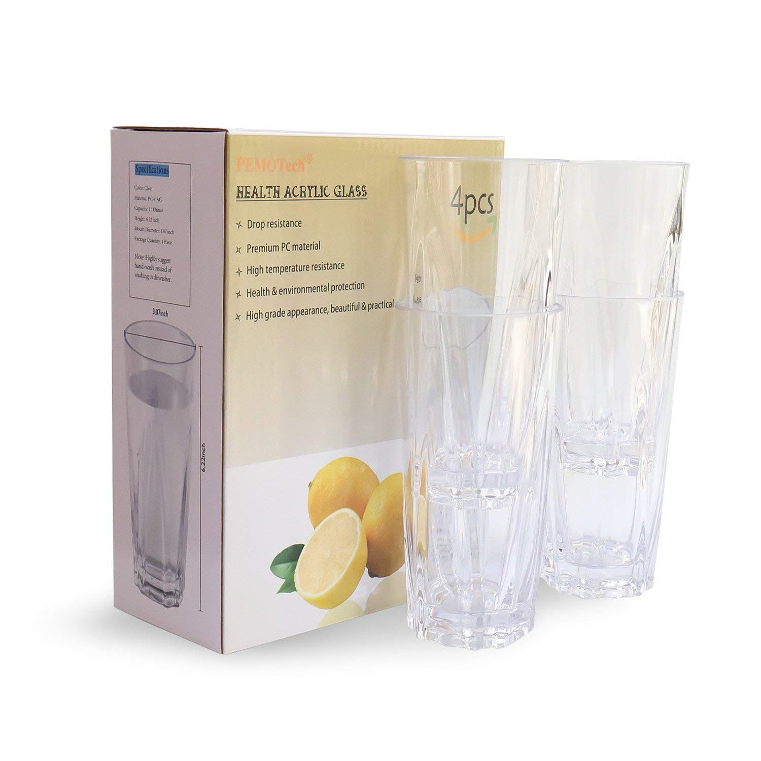 Restaurant Quality Plastic Water Cups Plastic Drinking Glasses,PEMOTech 4 Pack 9 Oz Clear Acrylic Water Tumblers Unbreakable Water Glasses for Kids,100/% BPA-free,Shatterproof SYNCHKG112380