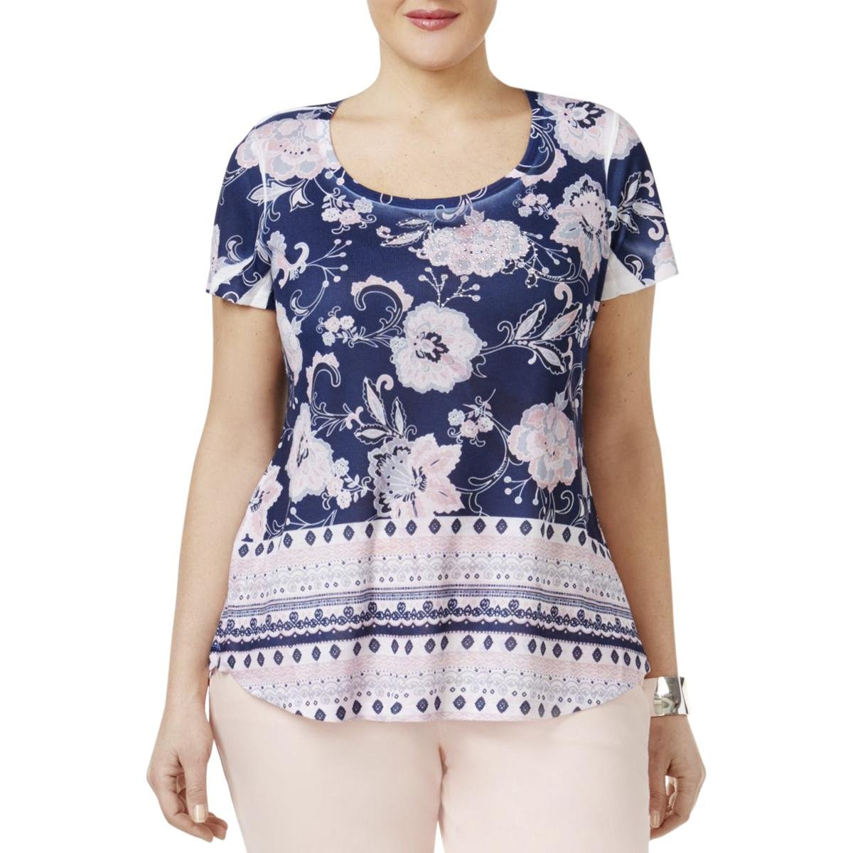 Style & Co. Womens Plus Floral Print Scoop Neck Casual Top Navy 3X