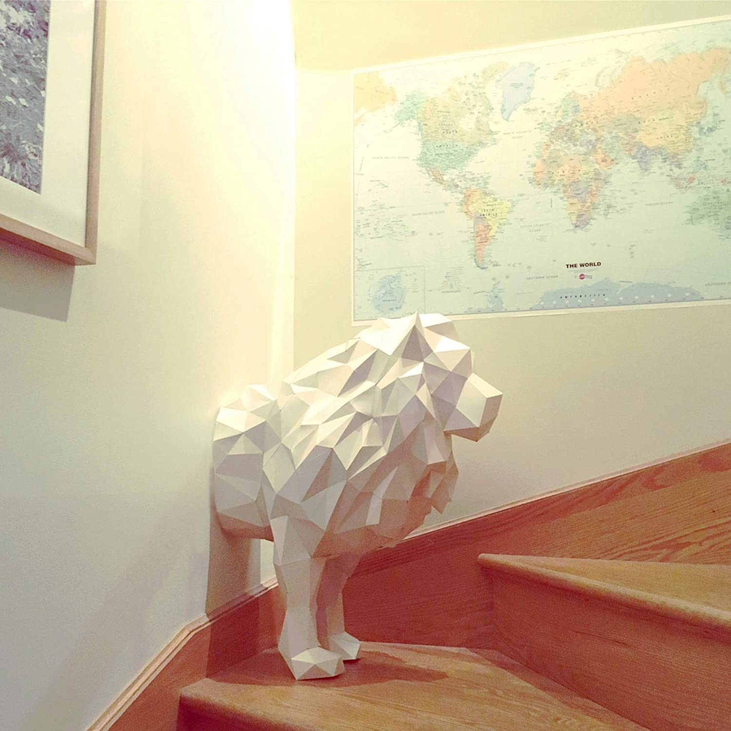 half LION 3d papercraft KIT. Kit contains card stock paper template for this DIY (do it yourself) paper sculpture.