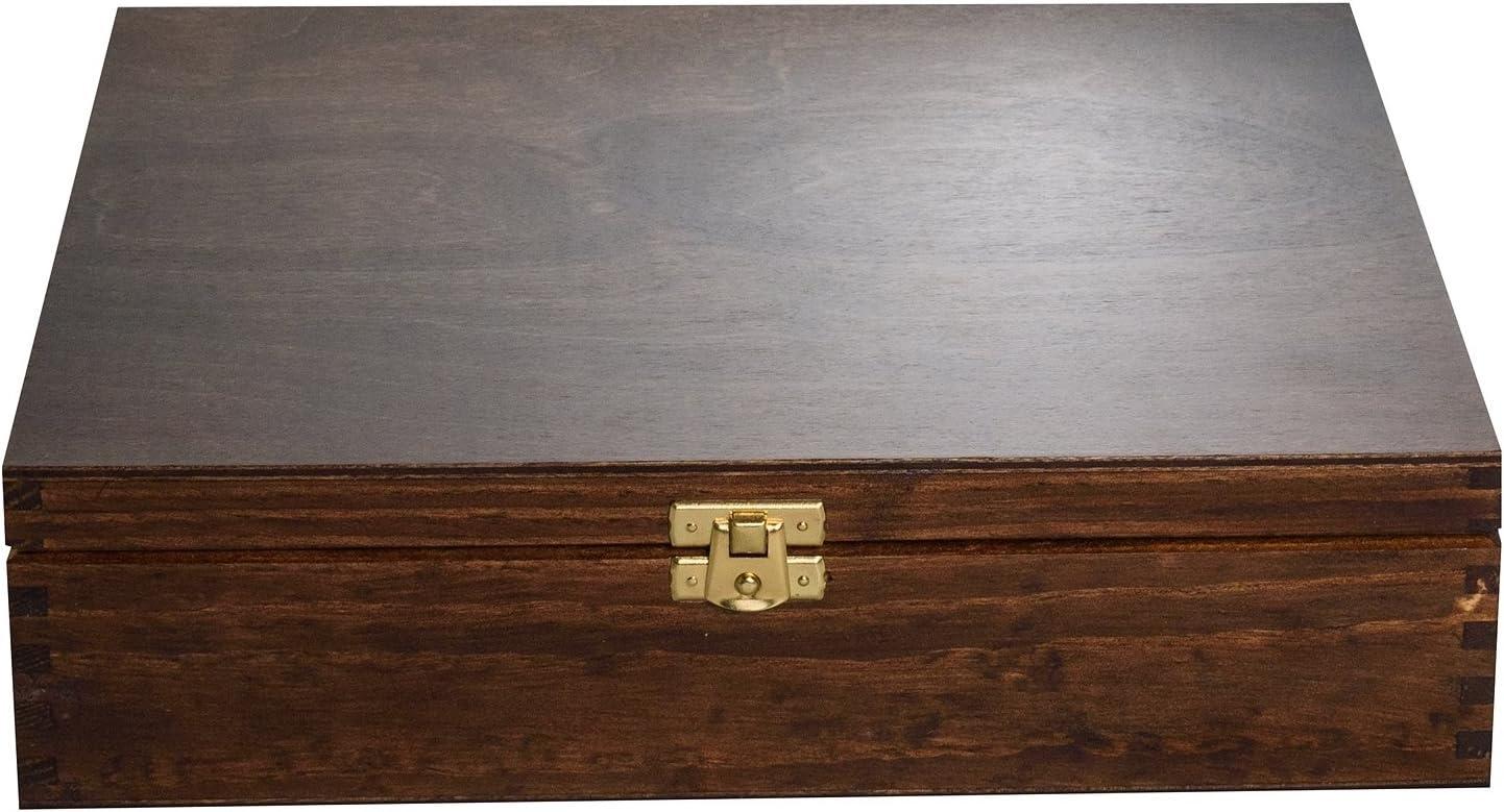 Creative Deco Grande Caja para T/é Bolsita Madera Decoraci/ón y Almacenaje con Tapa y Cerradura Ideal para Decoupage 12 Compartimentos Varias Medidas Disponibles 29 x 25 x 7,5 cm