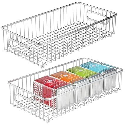 mDesign Metal Kitchen Food Drawer Organizer Basket with Handles