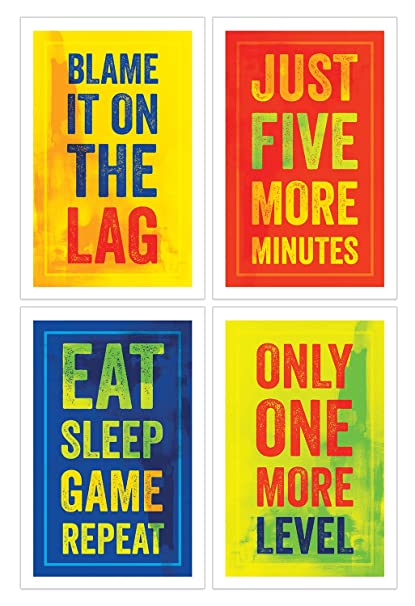 Video Game Posters, Set of 4, 11x17 Inches, Gaming Artwork, Gamer Wall Art,  Boys Room Kids Print Color