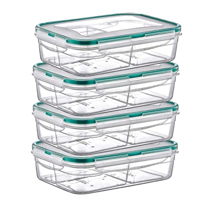 d50e8b5aa2d3 PlastArt Fresh Box Rectangle Set, Multi Piece Food Storage Container with 3  Divided Removable Compartment, Portion Control Set, 4.2-Cup, 4 Pack, Clear