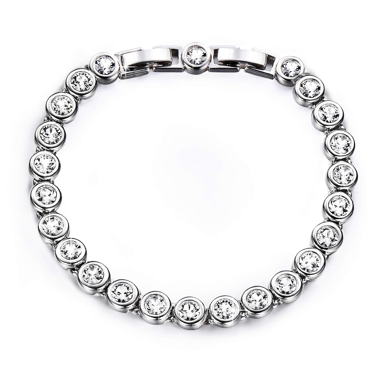 "Yalong Tennis Bracelet for Women Jewelry with Swarovski Crystal, Classic Sliver White Gold Plated Bracelet with Charm Birthstone for Girl, Friends, Wife & Mom, 6.5""+1""Extender 6.5""+1""Extender Yalong Jewelers Yalong-B-01"