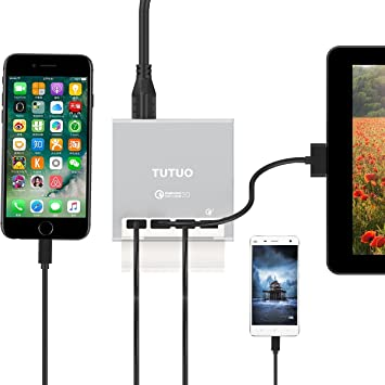 TUTUO Cargador Rápido USB Quick Charge 3.0 40W 4 Puertos Múltiple Estación de Carga Adaptador de Corriente para iPhone X 8 7 / Plus, iPad, Galaxy S8 ...