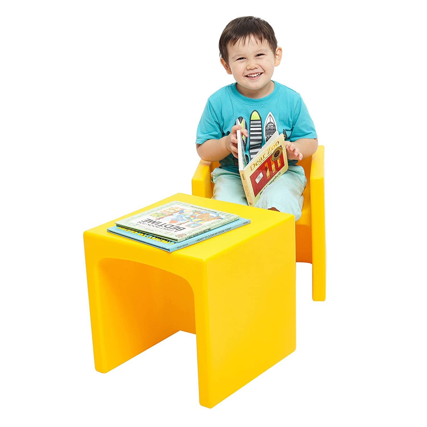 Blue Portable Indoor//Outdoor Play Seat or Table for Kids and Toddlers ECR4Kids Tri-Me 3-in-1 Cube Chair