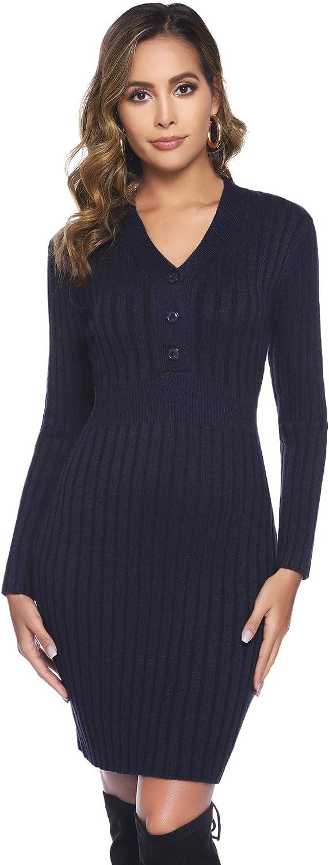 Hawiton Damen Strickkleid mit V-Ausschnitt Zierkn/öpfen Elegantes Midikleid Einfarbige Partykleid Trendy Kleid Lang/ärmeliges Kleider f/ür Herbst Winter