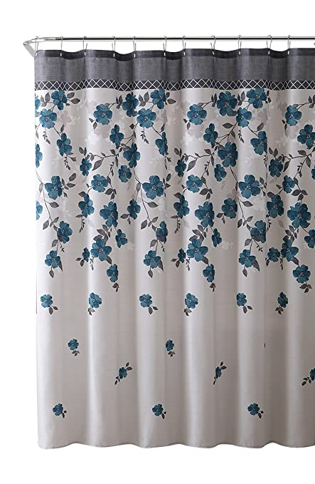 VCNY Home Lani Blue Grey White Canvas Fabric Shower Curtain Contemporary Floral Bordered Design