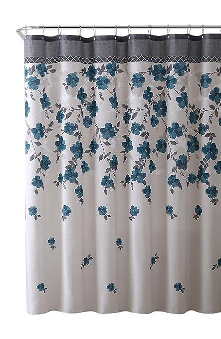 Amazon.com: VCNY Home Lani Blue Grey White Canvas Fabric Shower ...