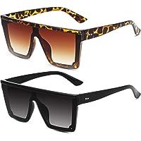 Frienda 2 Pares Gafas de Sol de Moda de Gran Tamaño de Superficie Plana con Lentes Siameses…