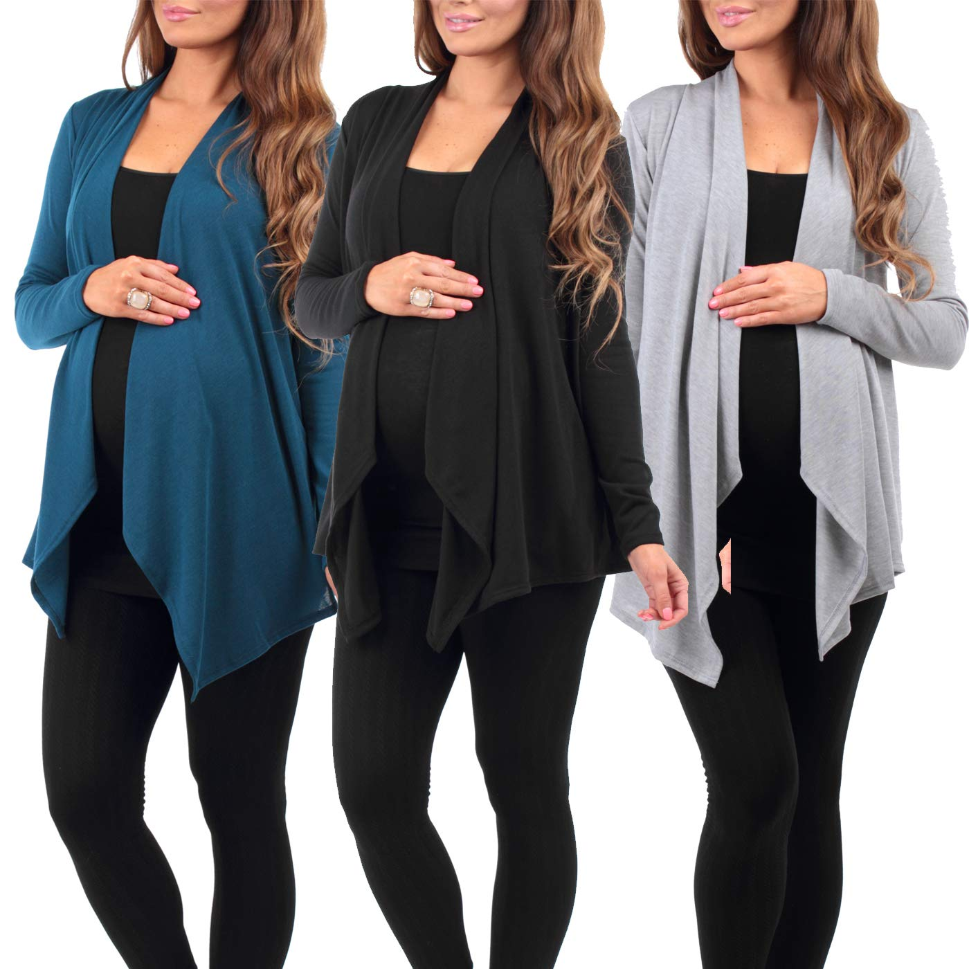 3 Pack Women's Hacci Maternity and Nursing Cardigan by Rags and Couture - Made in USA ,Xlarge,Black/Teal/Heather Grey