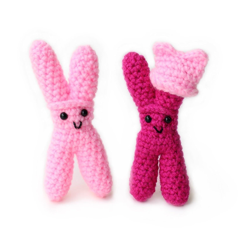 Amigurumi crochet XX chromosomes by Geekirumi! – Gender reveal party figurine (set of 2)