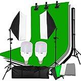Abeststudio Studio Continuous Lighting Kit Softbox Kit Background Set -- 2 Softbox + 10*5.2 ft Backdrops(Black White Green) + 6.5*6.5ft Background Support + Light Stand + 2x 25W 5500K LED Bulbs + Portable Bag Gray