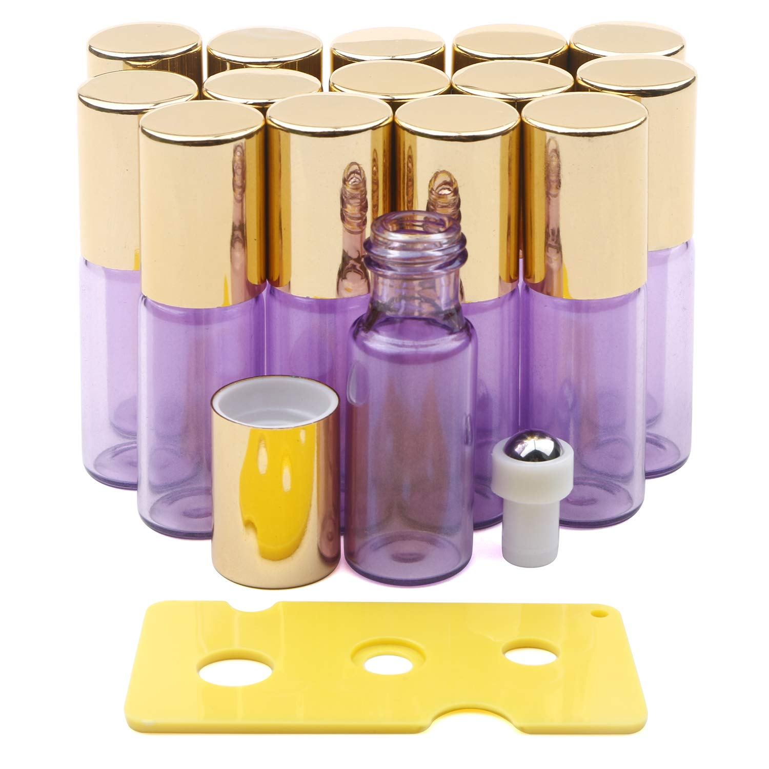 Kesell Essential Oil Roller Bottles Set with Stainless Steel Balls, 15 Pack 5ml Leakproof Glass Bottle with 15 Rollerballs for Perfume & 1 Opener by Kesell