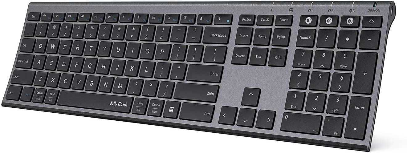 Multi-Device Bluetooth Keyboard - Jelly Comb Rechargeable Wireless Keyboard Full Size Ultra Slim Bluetooth Keyboard with Number Pad Compatible with Windows, Android, Mac OS and iOS