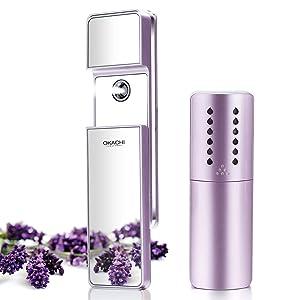 Nano Facial Mister Ionic Cool Mist Sprayer Moisturizing Atomizer Face Nebulizer Portable Face Hair Steamer Handy Eyelash Extension Bottle Spray Skincare Anti-aging Moisturizer (Light Purple)