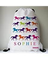 I LOVE... PONIES Personalised Swimming Bag, Horse Riding Bag, Pony Grooming Kit Bag, School Bag for Girls & Boys - Ponies in Multi Colour by Little Folk made with any name
