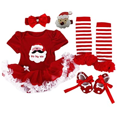 c0b9593a9f645 Baby Christmas Dresses Santa Outfits Newborn Girl Clothes Infant Tutu  Costumes: Amazon.co.uk: Clothing