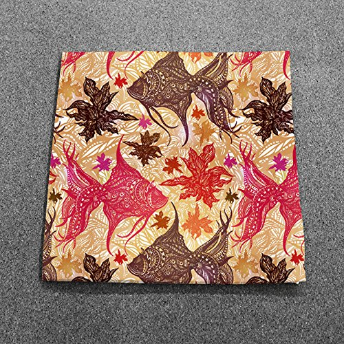 Paisley Fish Coral Dinner Napkins - Set of 12