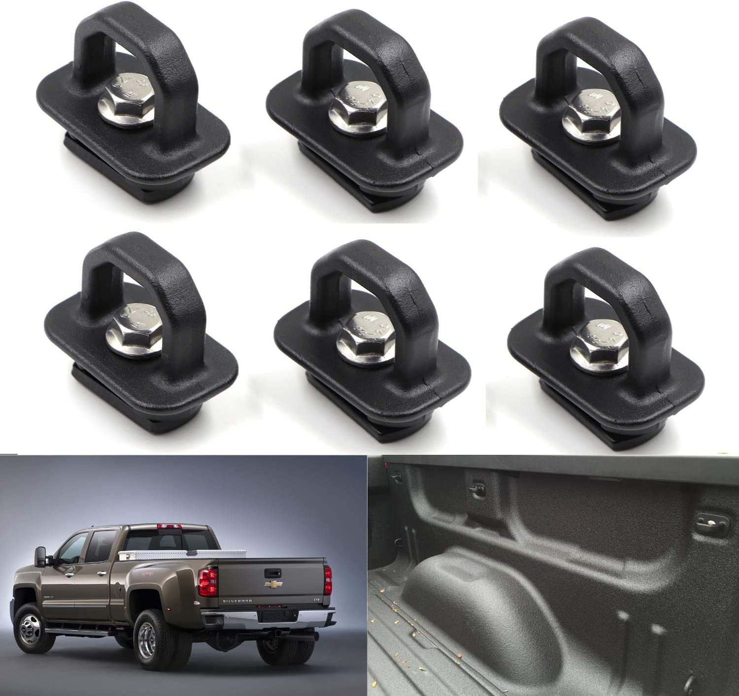 2015-2019 Colorado and Canyon Henkeyi 4 Pcs Truck Bed Side Wall Tie Down Anchors for 2007-2019 Silverado and Sierra