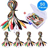 EAONE 50 Pieces Test Leads Set with Alligator Clips, Double-end Jumper Wire with Free Box, 19.7 Inches