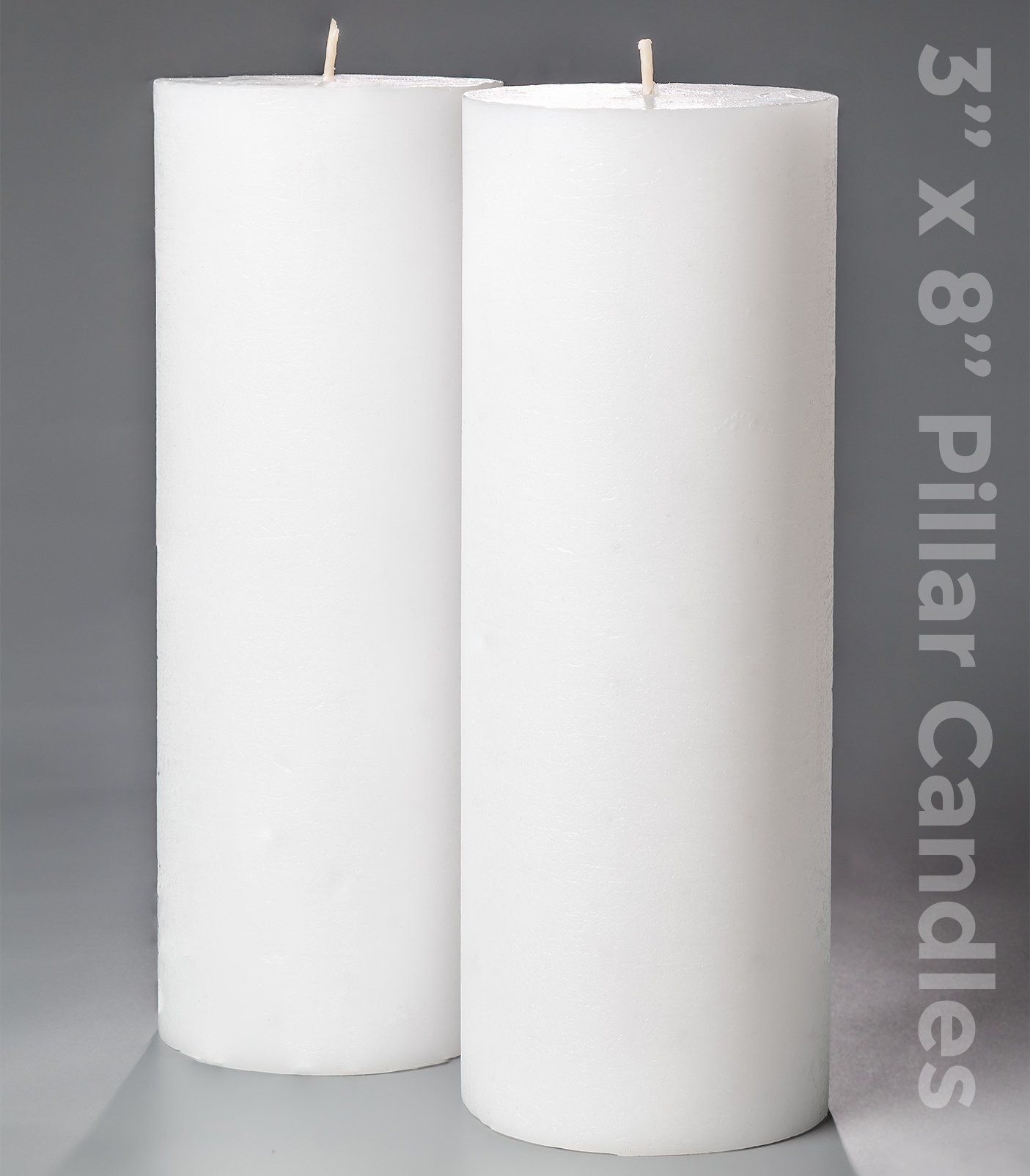 """3"""" x 8"""" White Pillar Candles Set of 2 Unscented for Weddings Home Decoration Church Restaurant Spa Smokeless Cotton Wick"""