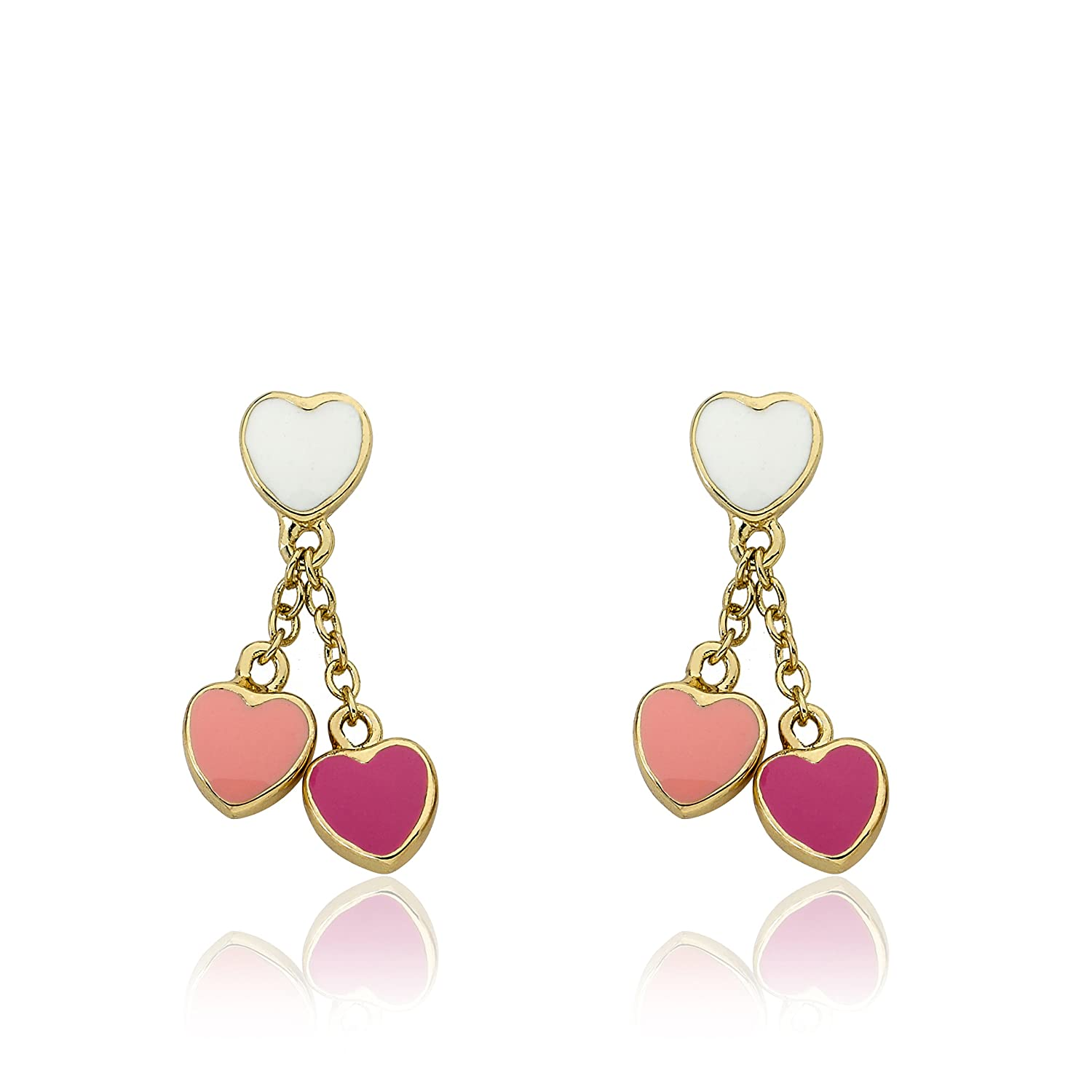 Little Miss Twin StarsI LOVE My Jewels 14k Gold-Plated White Enamel Heart with Pink and Hot Pink Heart Dangle Earring ER3686B-GP
