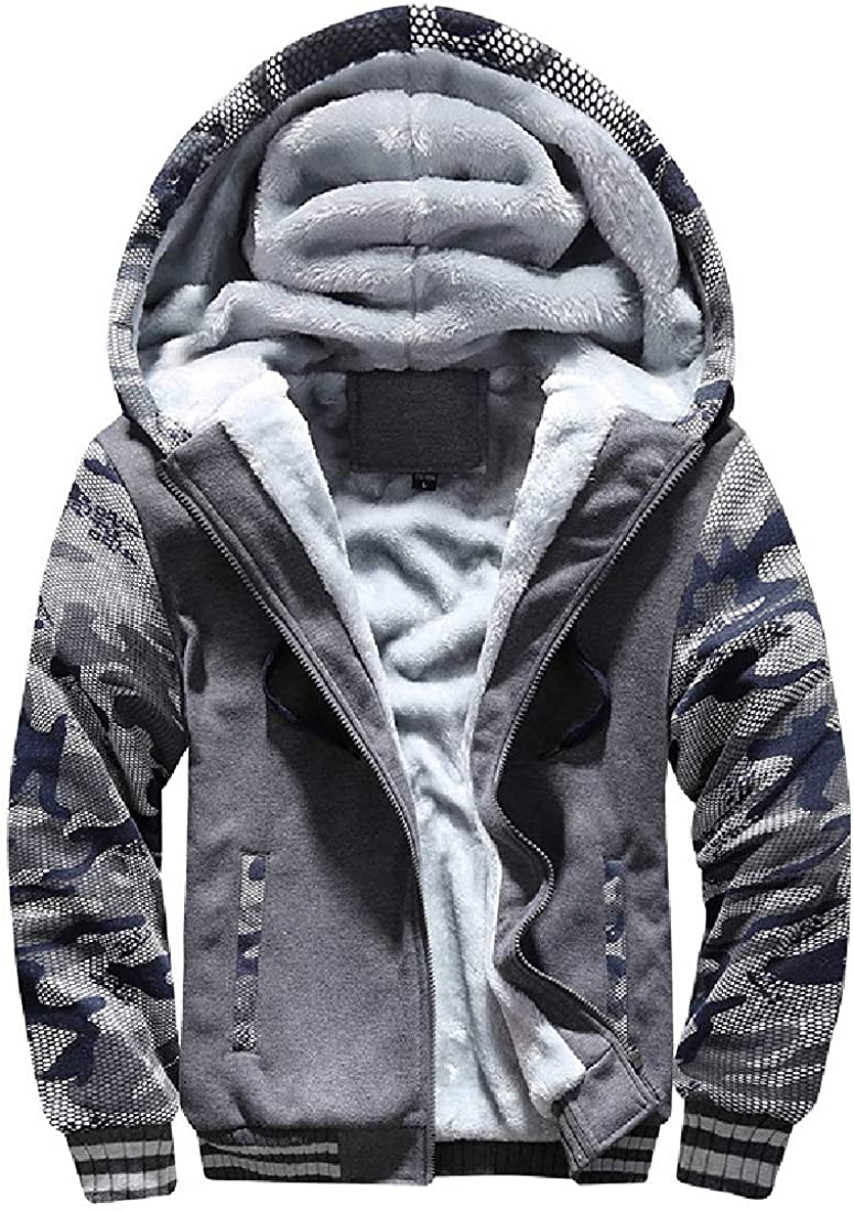 MOUTEN Mens Full Zipper Thicken Hooded Fleece Lined Workout Sweatshirt Jacket