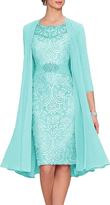 50faad1cf50 Chiffon Lace 2 Pieces Mother of The Bride Short Formal Gowns Dress with  Jacket Aqua US2
