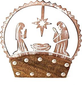 Global Crafts Handmade Christmas Nativity Tabletop Silhouette in Mango Wood, Made in India (IX12ATX9184)