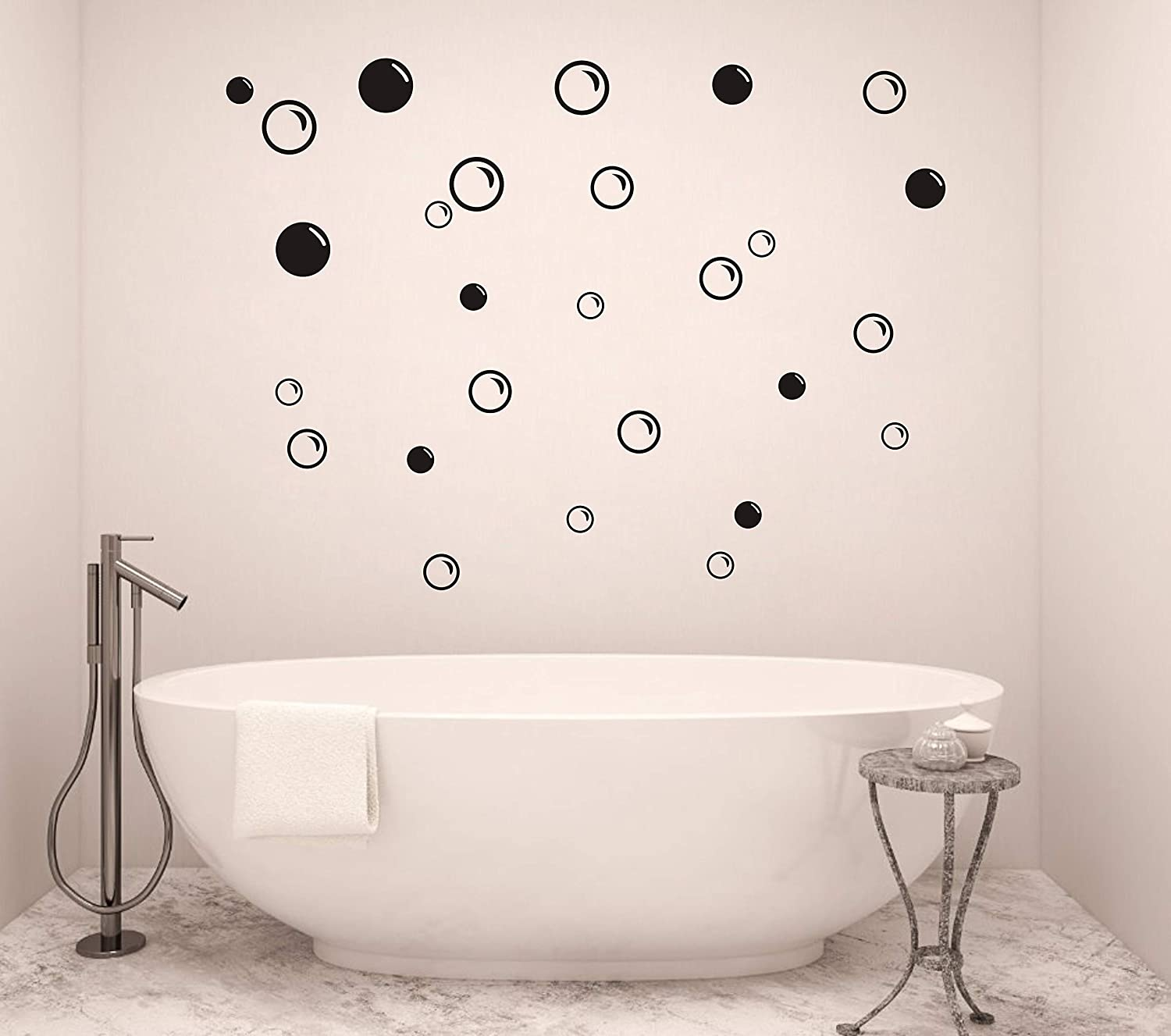 90 Large Soap Bubbles Wall Decals, Bathroom Decals, Wall Art, Vinyl Stivkers for Bathroom, Bedroom, Nursery Decor(A35) (Black)