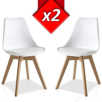 Pack 2 sillas Lucia Blanco, pata madera y asiento acolchado, estilo ...