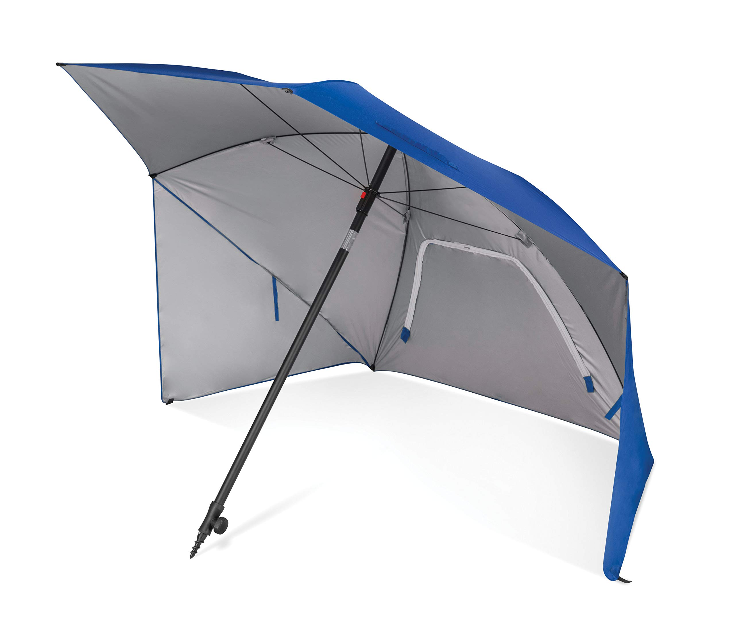 Sport-Brella Ultra SPF 50+ Angled Shade Canopy Umbrella for Optimum Sight Lines at Sports Events (8-Foot), Blue by Sport-Brella