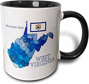 3dRose Flag And County Map Of West Virginia With State Name And Nickname Mug, 11 oz, Black