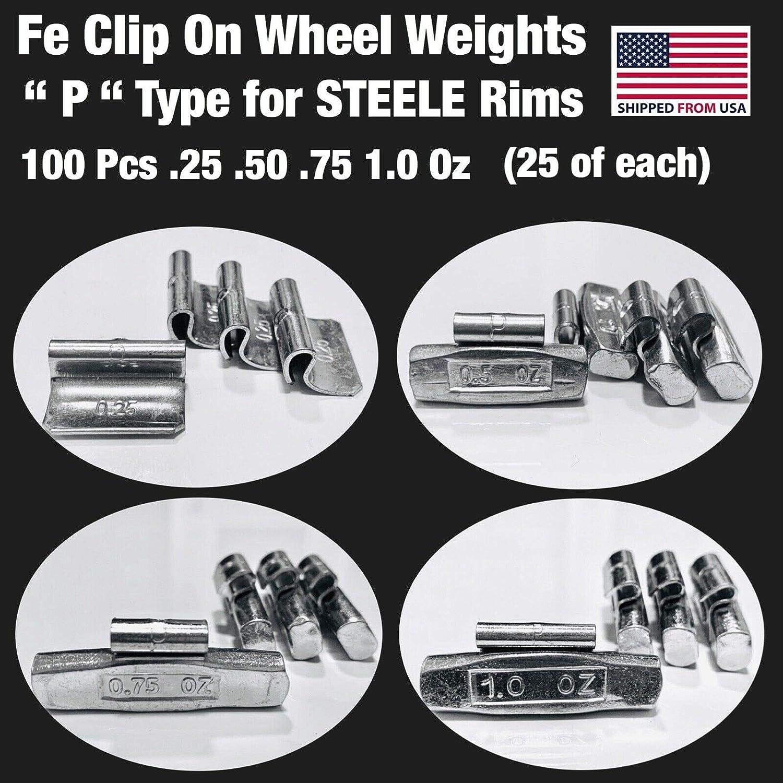 50 Pack Hornet Zinc Clip On P Type Wheel Weights .25oz