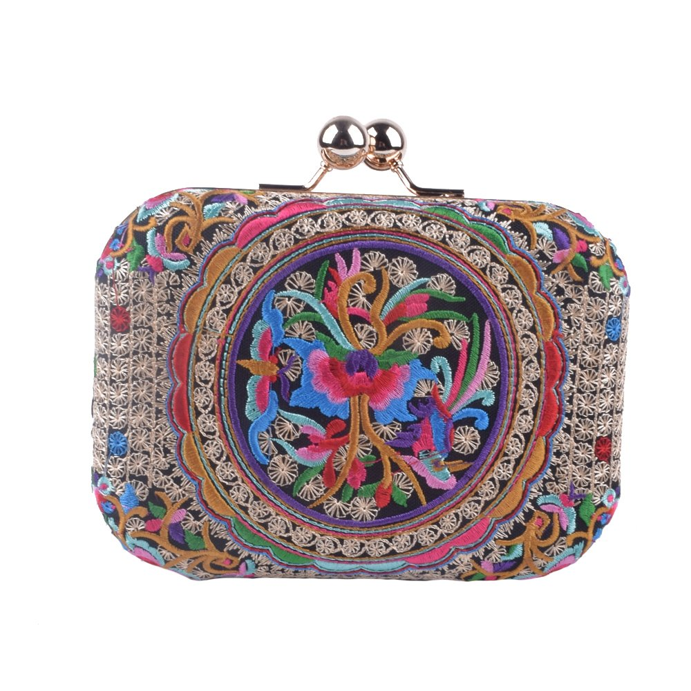 Women Peacock Embroidery Day Clutch Lady Floral Purse Totes Chain Patry Handbag Evening Bag (Coins 1)