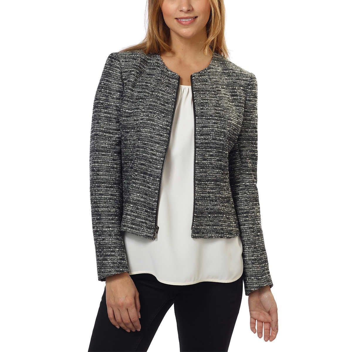 Anne Klein Women's Tweed Zip Front Jacket (Black/White, 14)