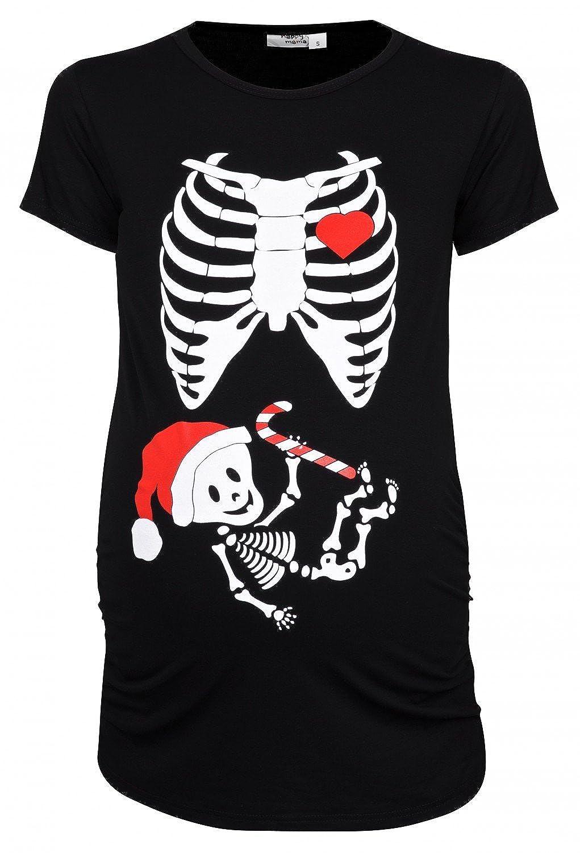Happy Mama. Womans Maternity Xmas Santa Baby Skeleton X-ray T-shirt Tee. 049p 25233_049