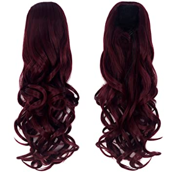 16/'/' Straight Pony Tail Claw Clip Wig Accessory Burgundy Red Clip Only NEW